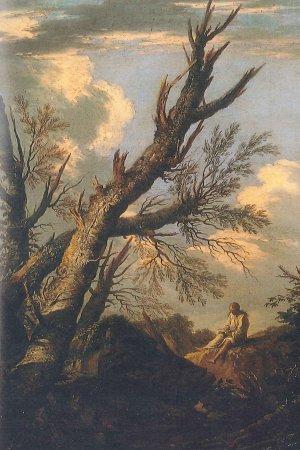 Salvator Rosa Paesaggio con eremita olio su tela, 75,7 x 53,8 cm