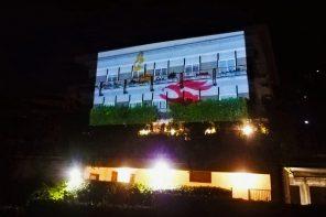 Accendi il proiettore e guarda l'arte sulla facciata del tuo palazzo. Senza mascherine